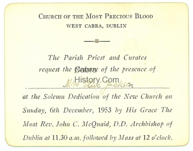 Precious Blood Cabra invitation card 6th Dec 1953