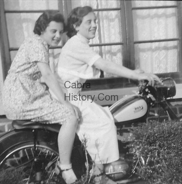 Coffey sisters on their Da\'s BSA Bantem 125