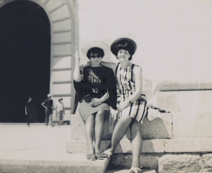 Marie Nulty & Monica Russell in Portugal, they worked in Milroys Sweet factory in 1961