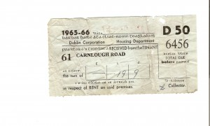 Cabra West rent receipt 1965-1966 from Tara Gleeson