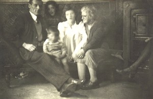 Ned Chrissie Kathleen Granny & Noel with old fireplace in Cabra West -1
