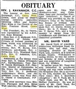Fr Kavanagh death 1960